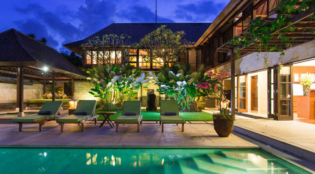 Villa Bayu Gita pool night - Sanur Villas Bali