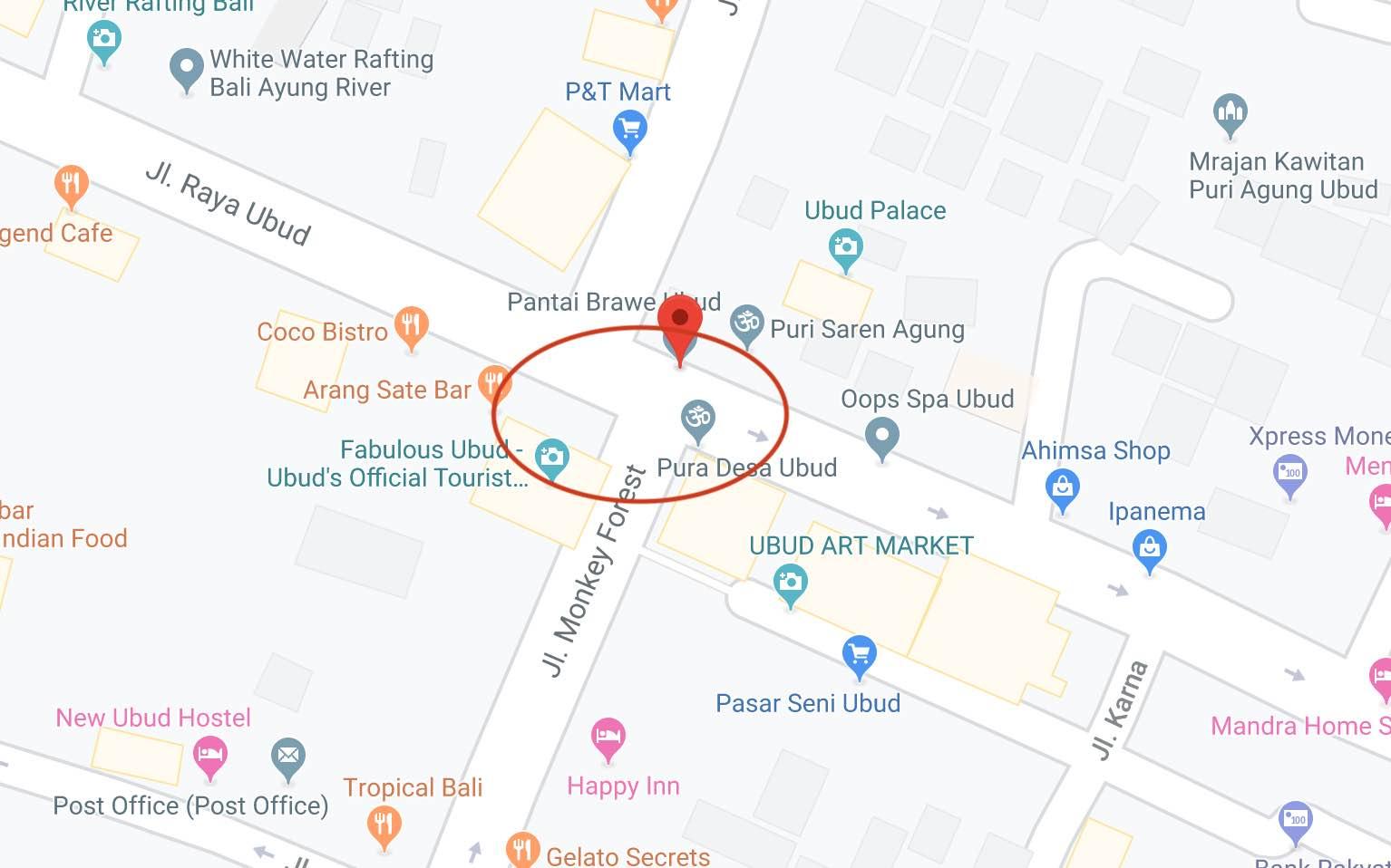 centre of ubud map
